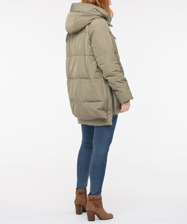 Hooded Oversized Puffer Jacket, Sage, hi-res