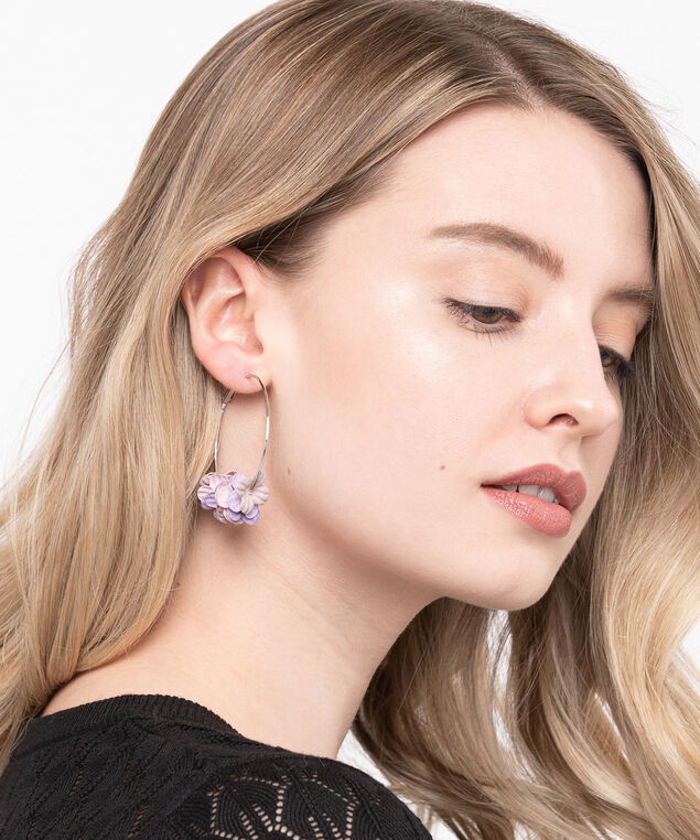 Cloth Flower Hoop Earring, Rhodium/Lavender/Rose Petal, hi-res
