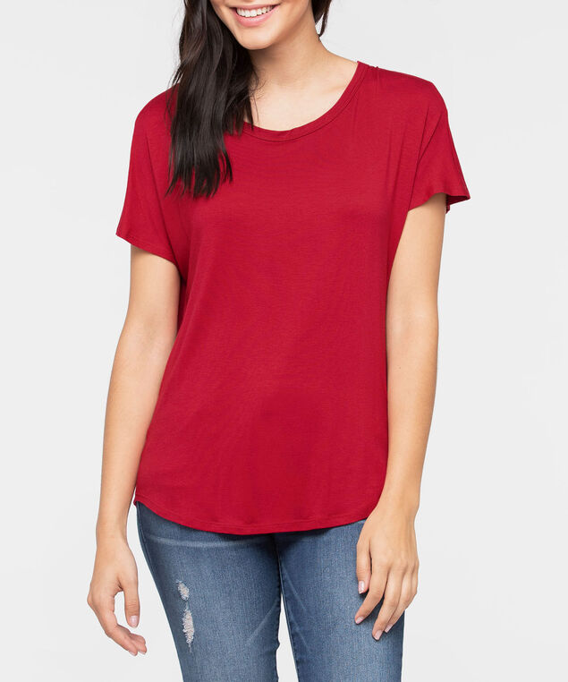 Short Sleeve Cowl Back Top, Cherry, hi-res