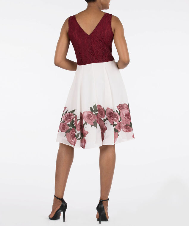 Chiffon & Lace Sleeveless Dress, Pearl/Black Cherry, hi-res