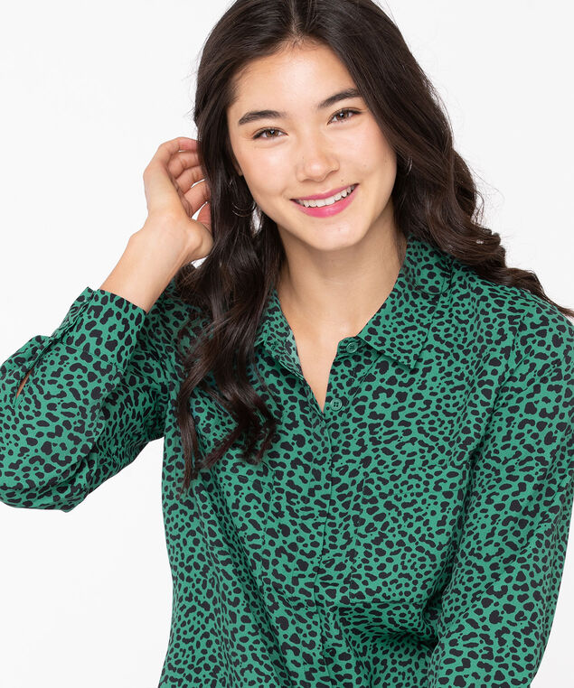 Collared Button Front Blouse, Emerald/Black, hi-res