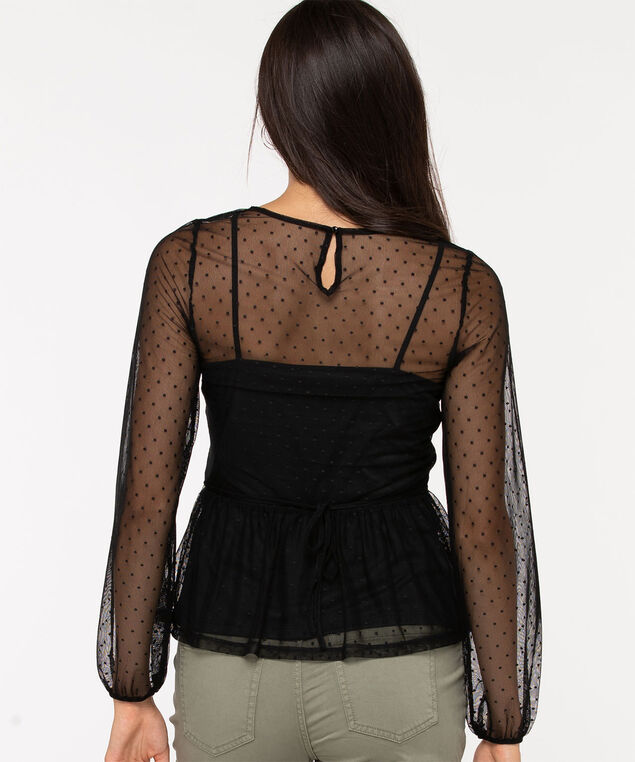 Swiss Dot Overlay Peplum Top, Black, hi-res
