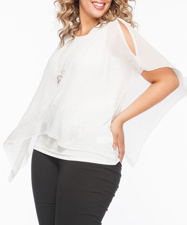 Rhinestone Cold Shoulder Cape Overlay Top, Pearl, hi-res