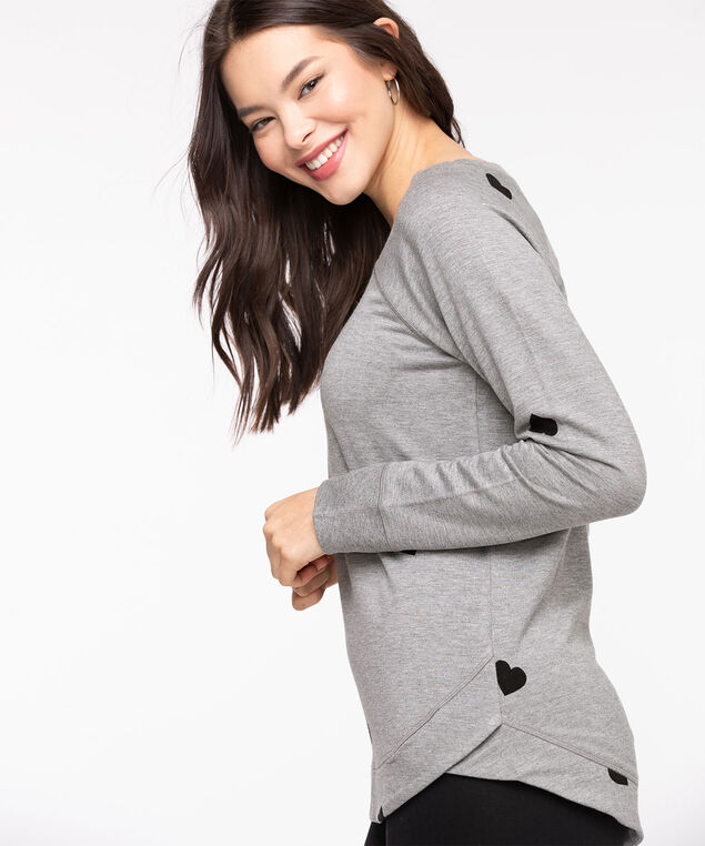 French Terry Black Heart Pullover, Grey/Black Heart