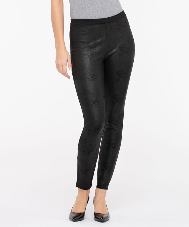 Crackle Finish Ponte Legging, Black, hi-res
