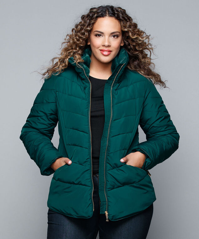 Quilted Shirttail Short Coat, Jade/Gold, hi-res