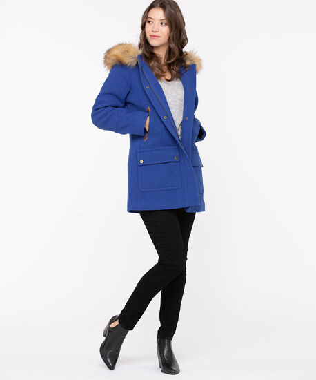 Royal Blue Hooded Duffel Coat, Royal Blue, hi-res