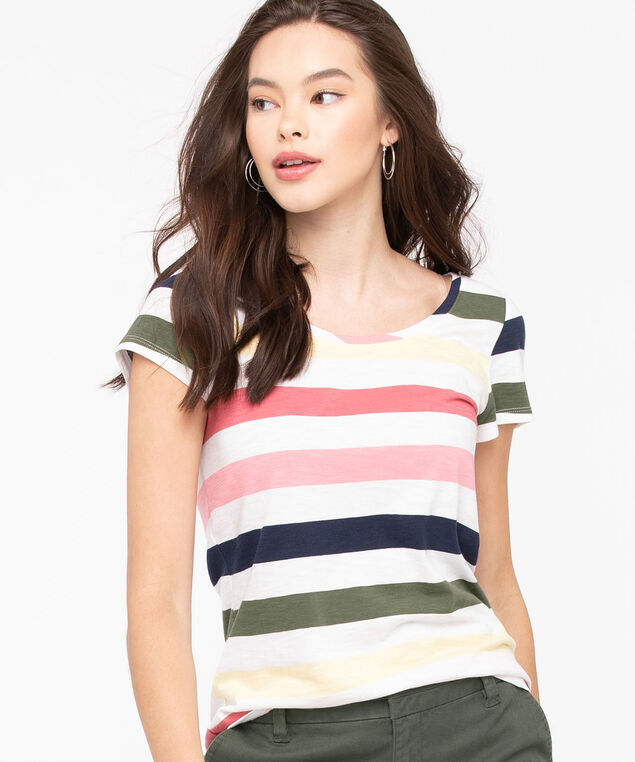 Short Sleeve Scoop Neck Tee, Pearl/Lemon/Pink/Summer Navy, hi-res