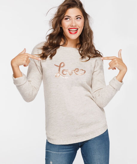 Sequin Love Boatneck Sweater, Almond, hi-res