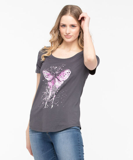 Butterfly Graphic Scoop Neck Tee, Charcoal/Lavender, hi-res