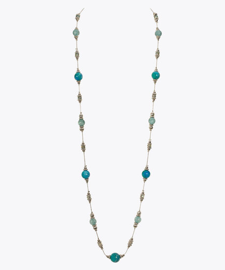 Stationed Marble Bead Long Necklace, Blue/Rhodium, hi-res