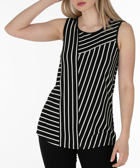 Sleeveless Stripe Print Top, Black/White, hi-res