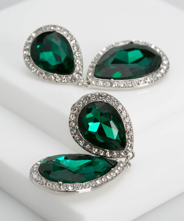 Crystal & Faceted Stone Teardrop Earring, Deep Green/Rhodium, hi-res