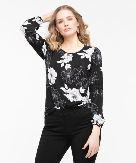 Long Sleeve Peasant Top, Black/Pearl, hi-res