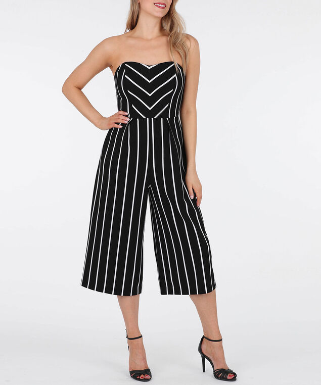 Striped Strappy Jumpsuit, Black/White, hi-res