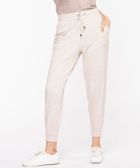 French Terry Drawstring Joggers, Oatmeal Mix, hi-res