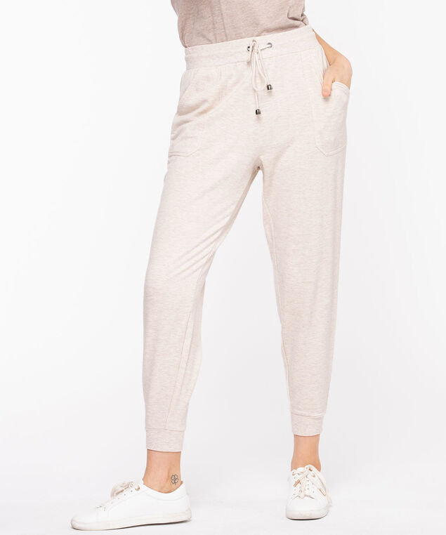 French Terry Drawstring Joggers, Oatmeal Mix