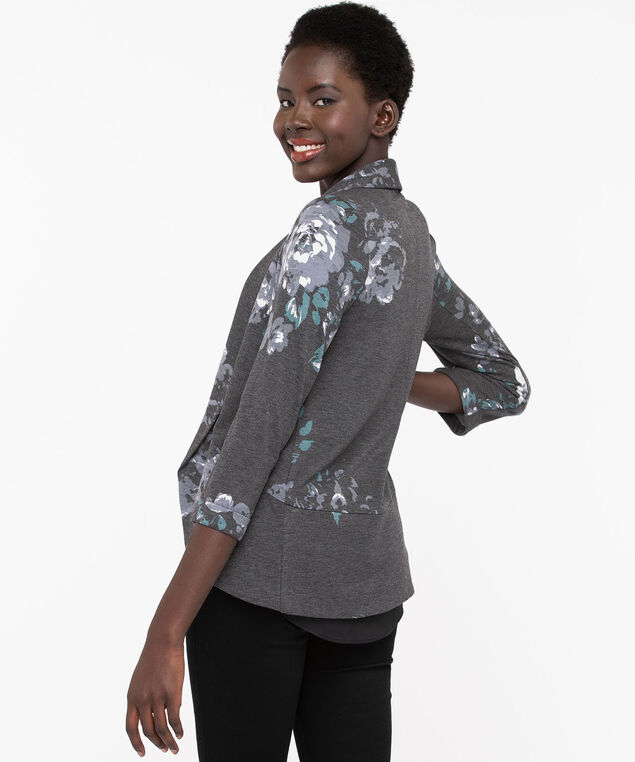 Shawl Collar Knit Cover Up, Slate/Soft Blue/Pearl, hi-res