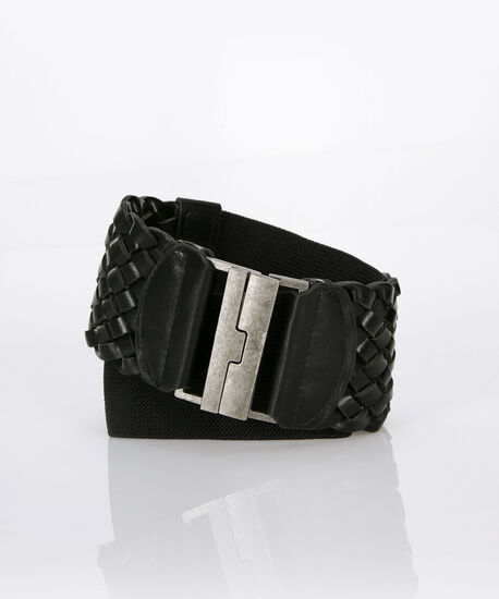 Woven Faux Leather Stretch Belt, Black/Nickel, hi-res