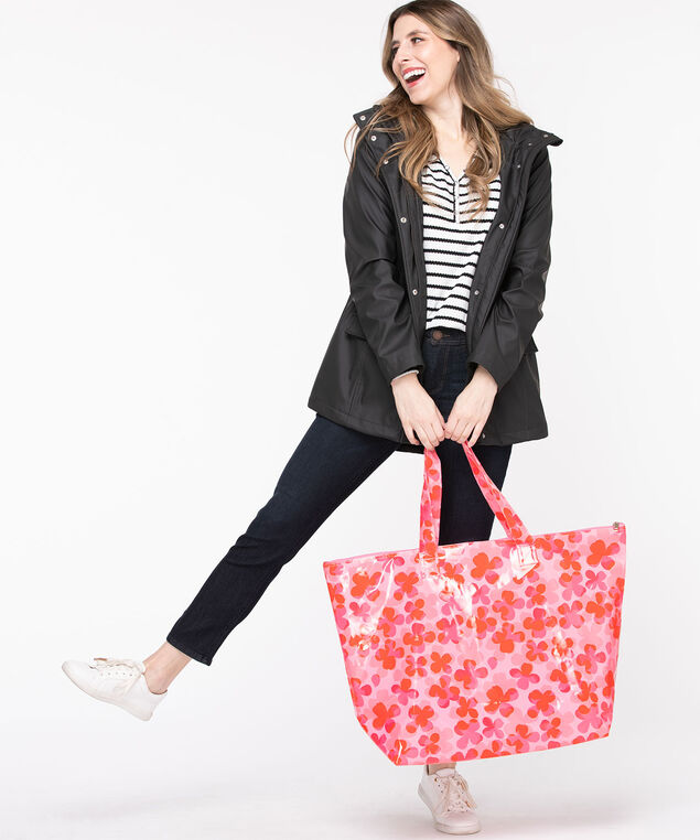 Large Printed PVC Tote Bag, Rouge Red/Pink Flower