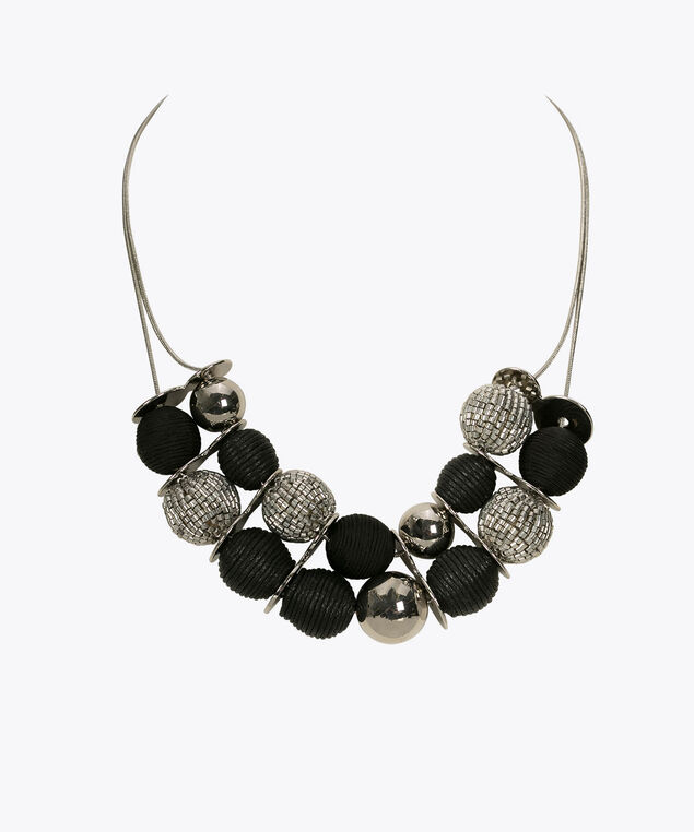 Bead & Thread Wrapped Ball Statement Necklace, Black/Rhodium, hi-res