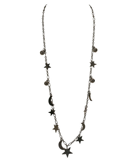 Stationed Moon & Star Necklace, Hematite, hi-res