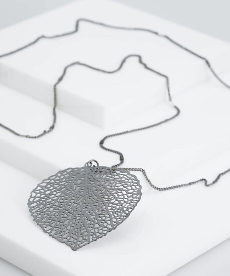 Filigree Leaf Pendant Necklace, Hematite, hi-res