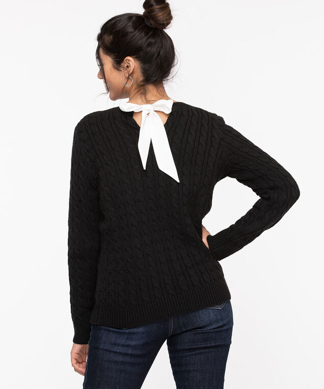 Ribbon Bow Cable Knit Sweater, Black