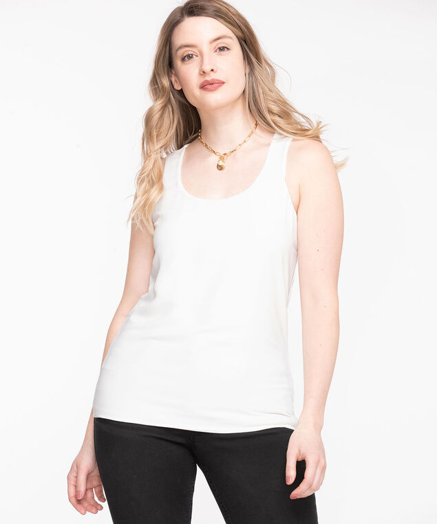 Ivory Sleeveless Mixed Media Top, Ivory