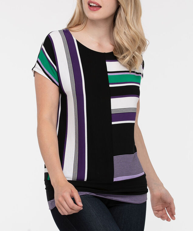 Vertical Stripe Banded Bottom Top, Black/Green/Purple/Pearl, hi-res
