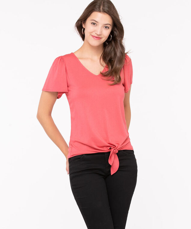 Elbow Sleeve Tie Front Top, Coral, hi-res