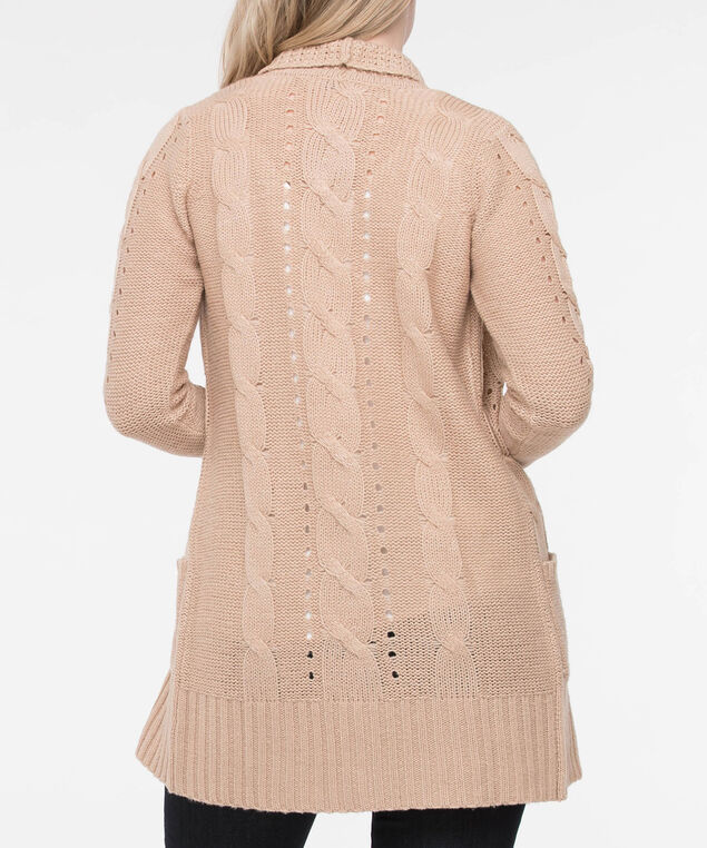 Pointelle Pocket Front Open Cardigan, Camel, hi-res