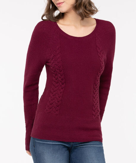 Cable Knit Detail Sweater, Berry, hi-res