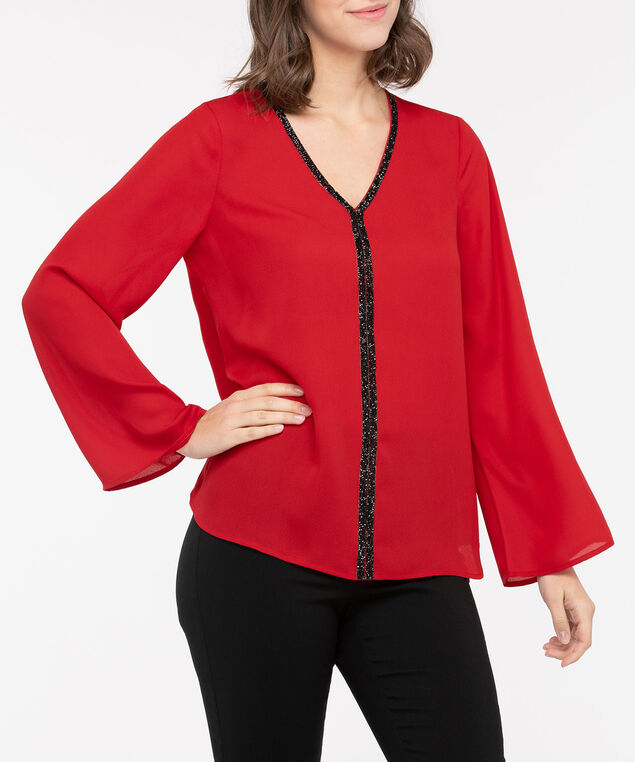 Crystal Trim V-Neck Blouse, Crimson/Black, hi-res
