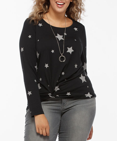 Long Sleeve Twist Knot Front Top, Black/Grey, hi-res