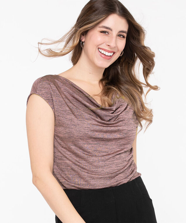 Extended Sleeve Cowl Neck Tee, Rose Mix, hi-res
