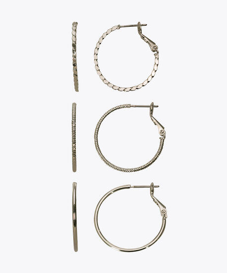Hoop Earring Set, Rhodium, hi-res