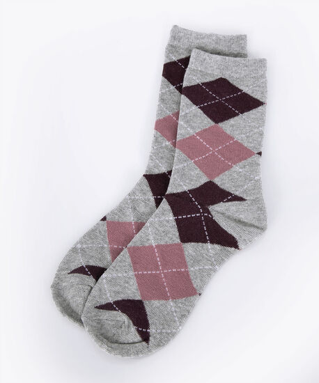 Argyle Pattern Socks, Grey/Plum, hi-res