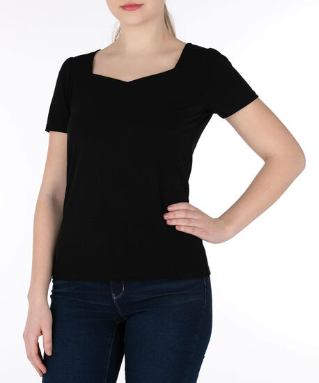 Sweetheart Neck Short Sleeve Top, Black, hi-res