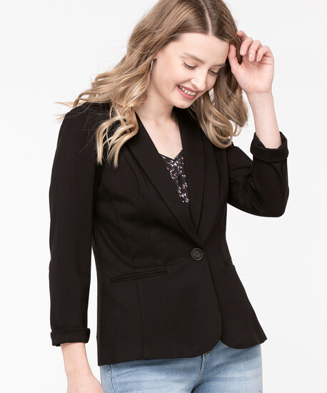 Ponte Single Button Blazer, Black, hi-res