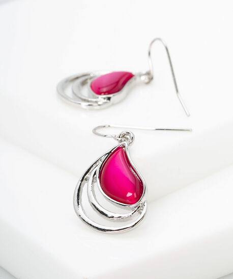 Framed Cateye Earring, Pink, hi-res
