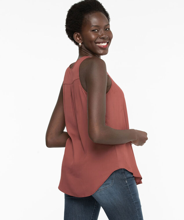 Pleat Back Woven Essential Cami, Dusty Cedar