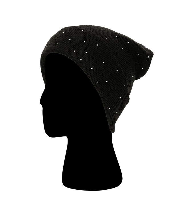 Crystal Studded Ribbed Toque, Black/Silver, hi-res
