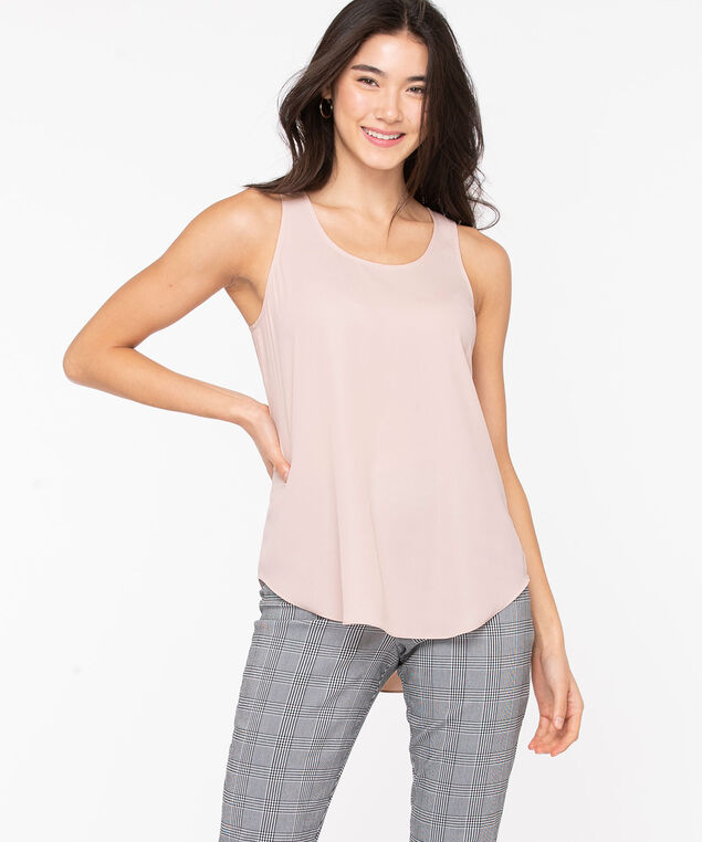 Pleat Back Woven Essential Cami, Misty Rose, hi-res