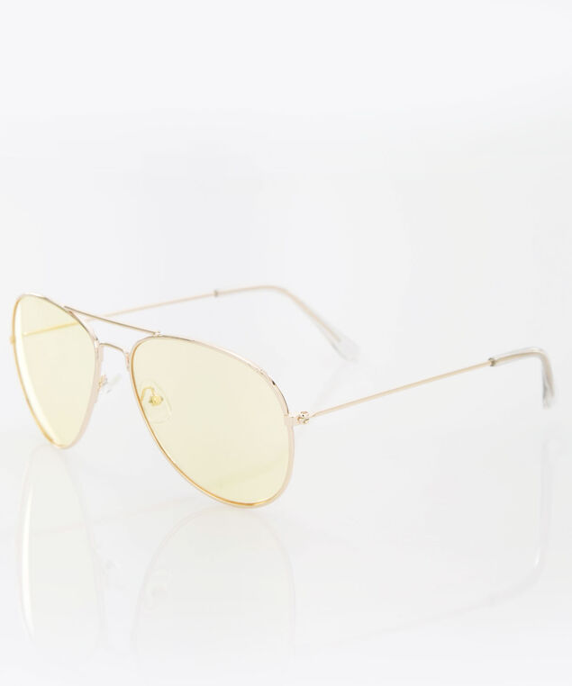 Yellow Lens Aviator Sunglasses, Yellow/Gold, hi-res