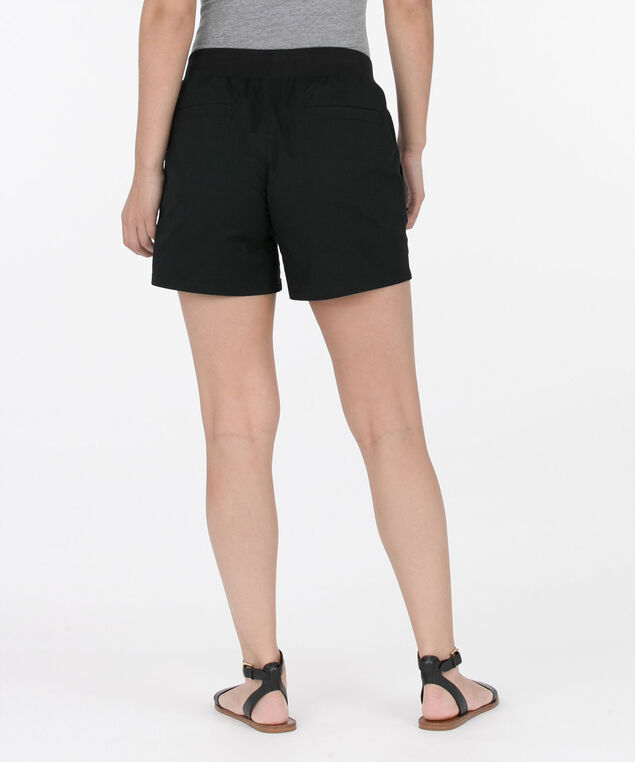 Drawstring Knit Waistband Shorts, Black, hi-res