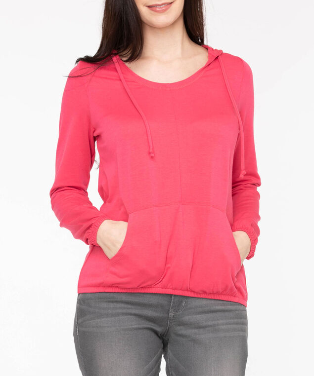 Long Sleeve Bubble Hem Hoodie, Strawberry, hi-res