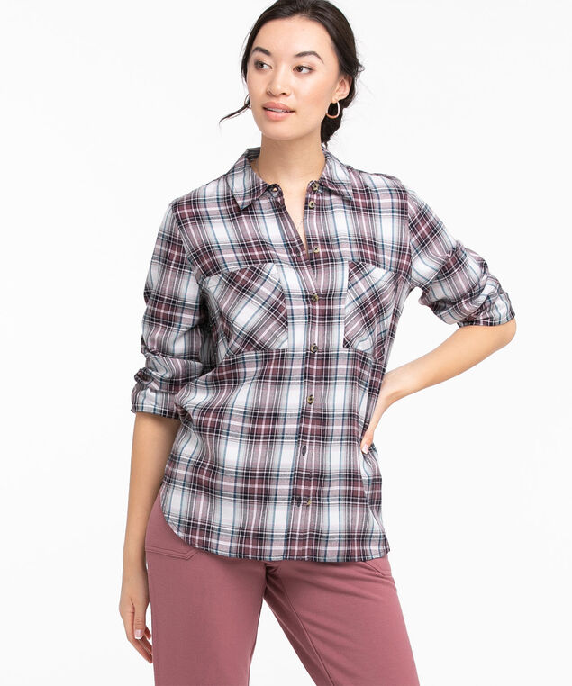 Collared Long Sleeve Button Front Shirt, Purple Plaid