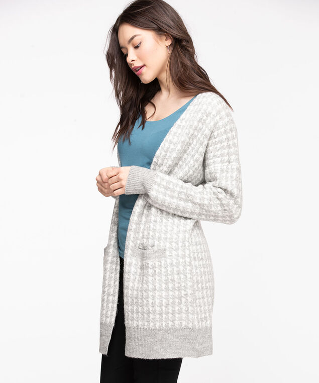Houndstooth Long Open Cardigan, Light Grey/Pearl