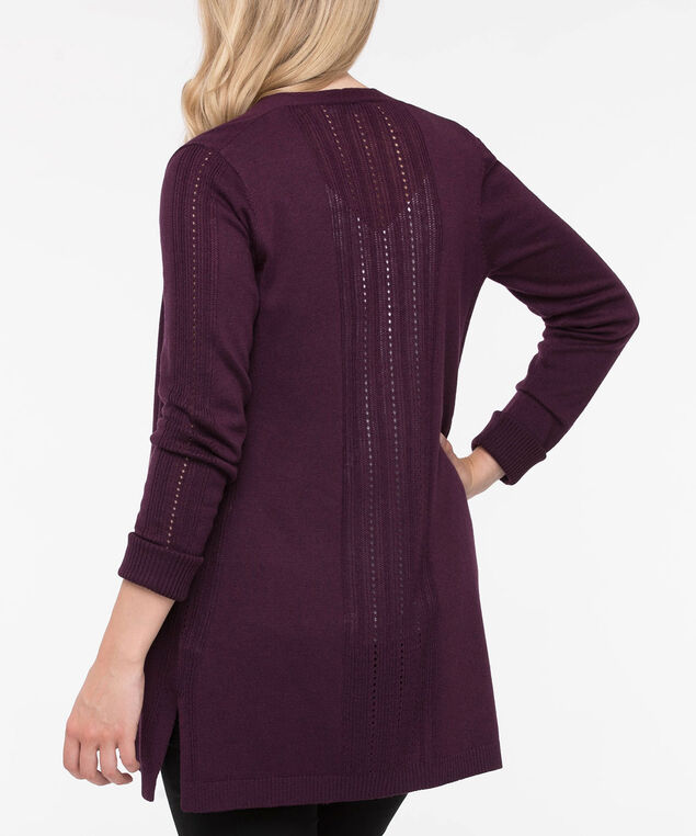 Long Sleeve Pointelle Open Cardigan, Plum, hi-res